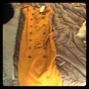 Top Shop mustard linen dress sz 6